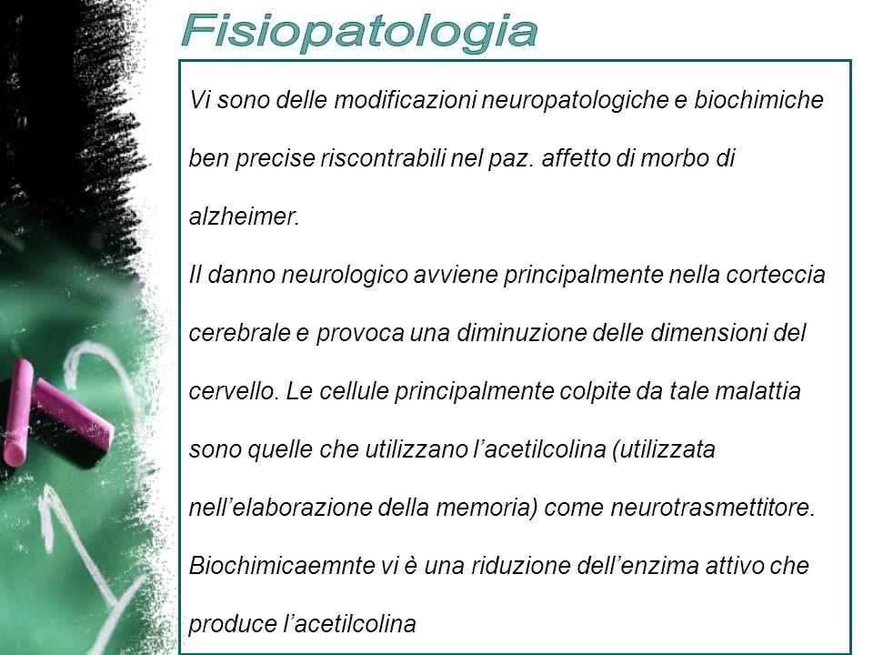 Fisiopatologia Vi sono delle modificazioni neuropatologiche e biochimiche ben precise riscontrabili nel paz. affetto di morbo di alzheimer.