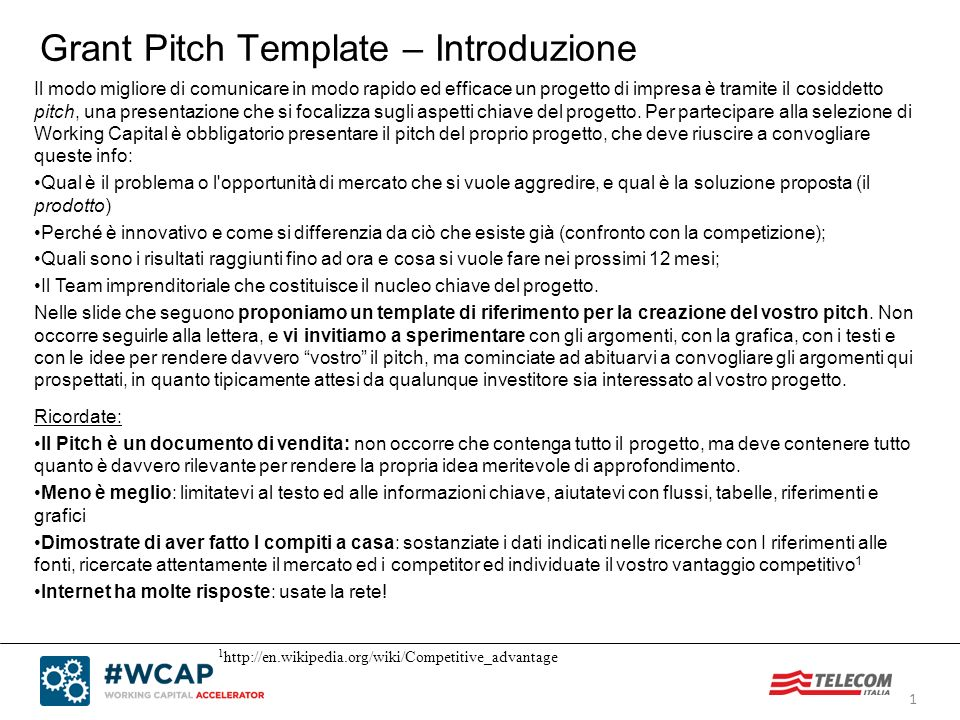 Grant Pitch Template – Introduzione