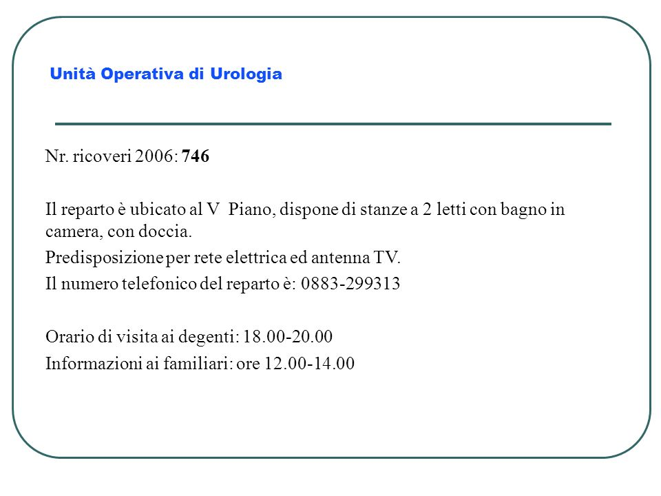 Predisposizione per rete elettrica ed antenna TV.