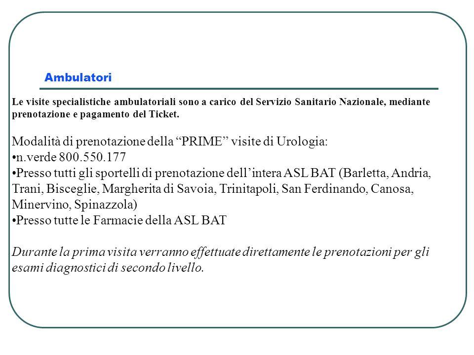 Modalità di prenotazione della PRIME visite di Urologia: