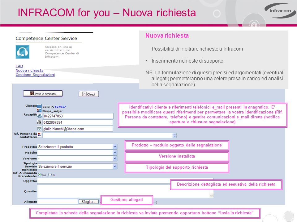 INFRACOM for you – Nuova richiesta
