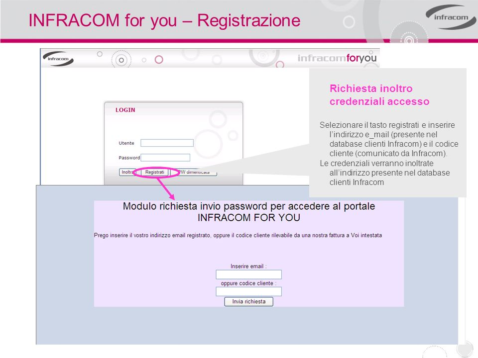 INFRACOM for you – Registrazione