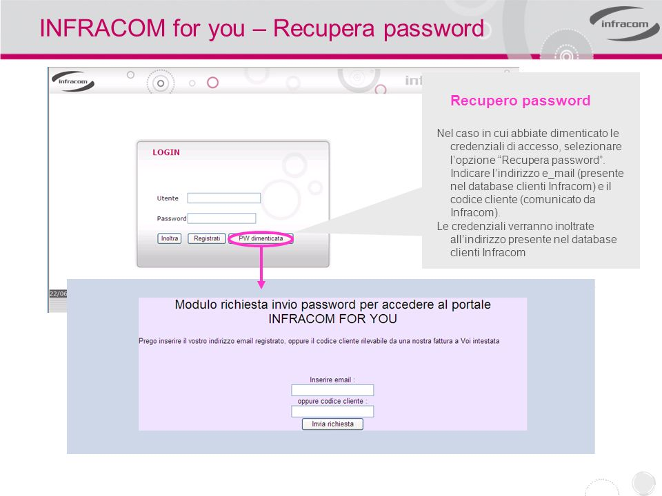 INFRACOM for you – Recupera password