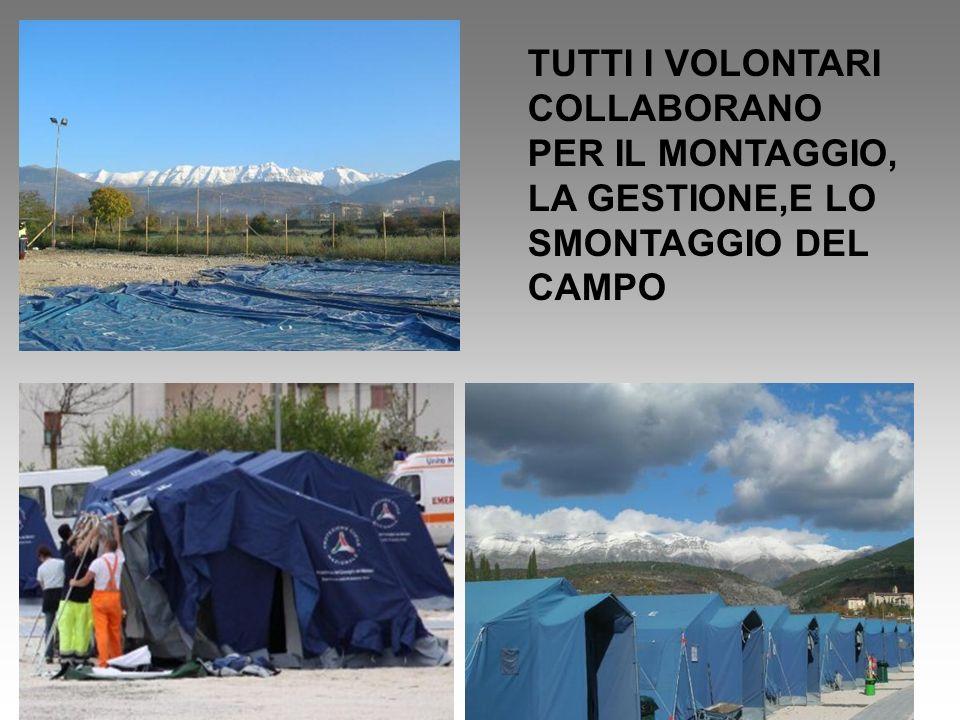 TUTTI I VOLONTARI COLLABORANO PER IL MONTAGGIO, LA GESTIONE,E LO SMONTAGGIO DEL CAMPO