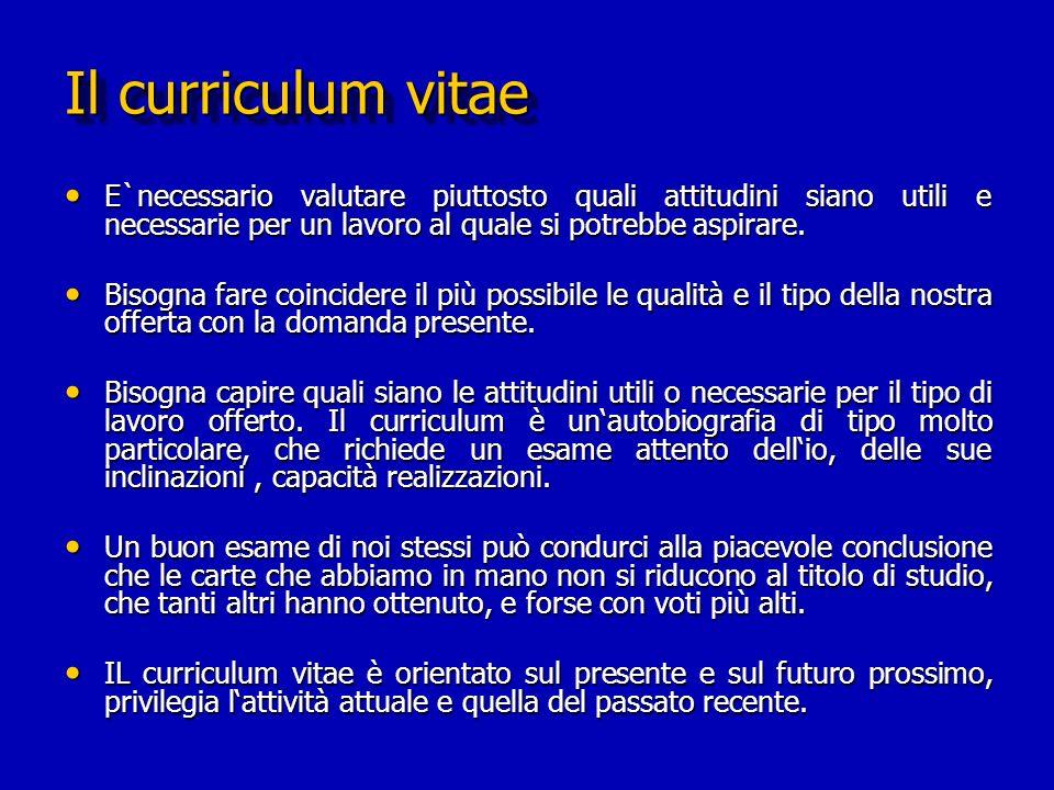 Il curriculum vitae E`necessario valutare piuttosto quali attitudini siano utili e necessarie per un lavoro al quale si potrebbe aspirare.