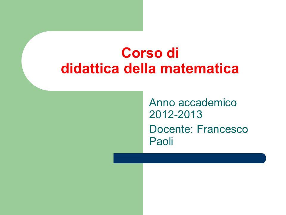 Corso di didattica della matematica
