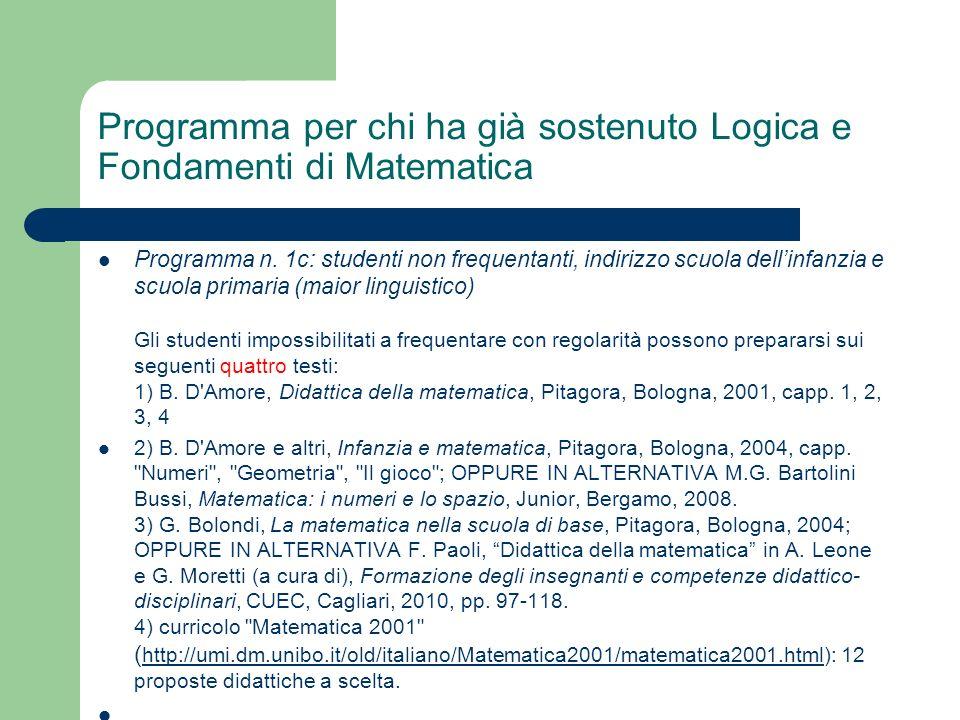 Programma per chi ha già sostenuto Logica e Fondamenti di Matematica
