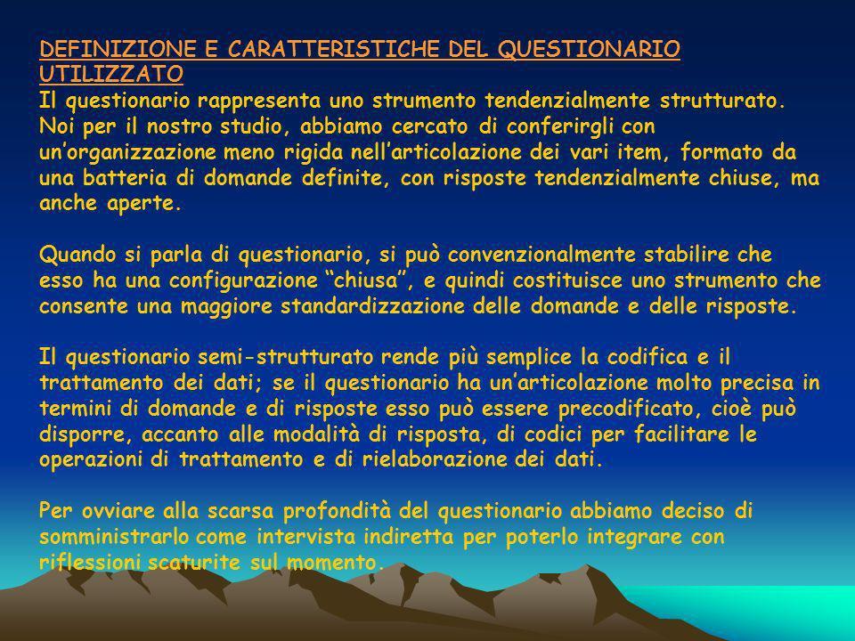 DEFINIZIONE E CARATTERISTICHE DEL QUESTIONARIO UTILIZZATO