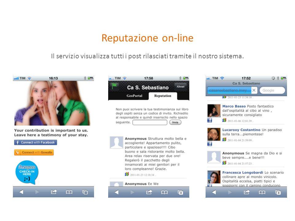 Reputazione on-line Il servizio visualizza tutti i post rilasciati tramite il nostro sistema.