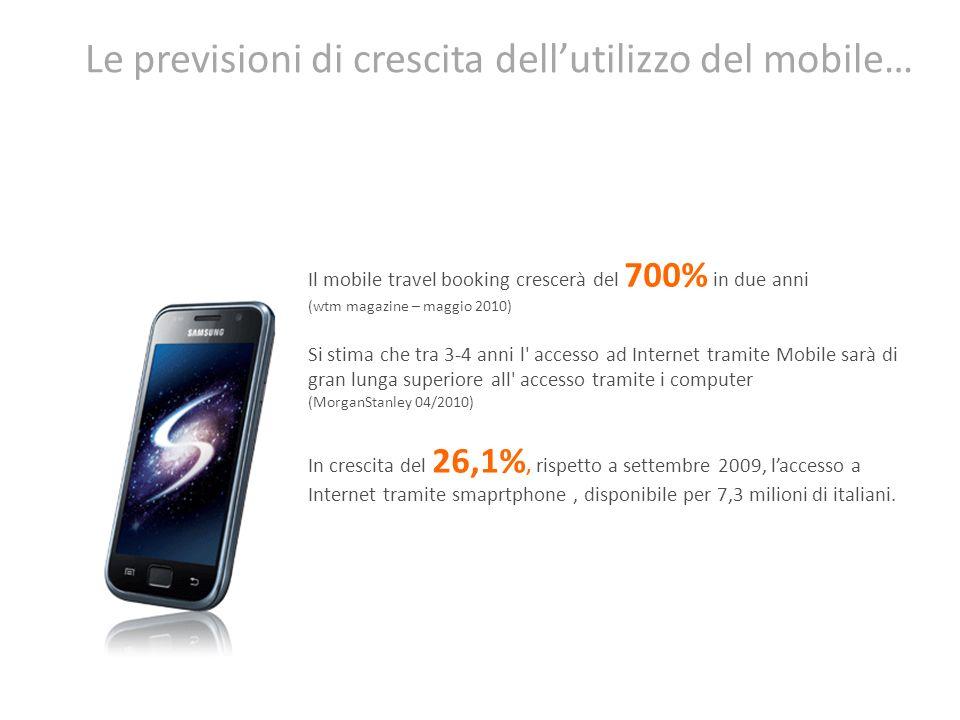 Le previsioni di crescita dell'utilizzo del mobile…