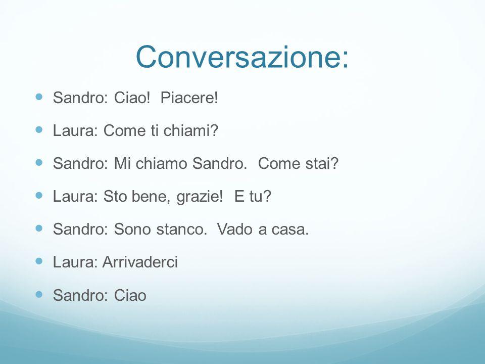 Conversazione: Sandro: Ciao! Piacere! Laura: Come ti chiami