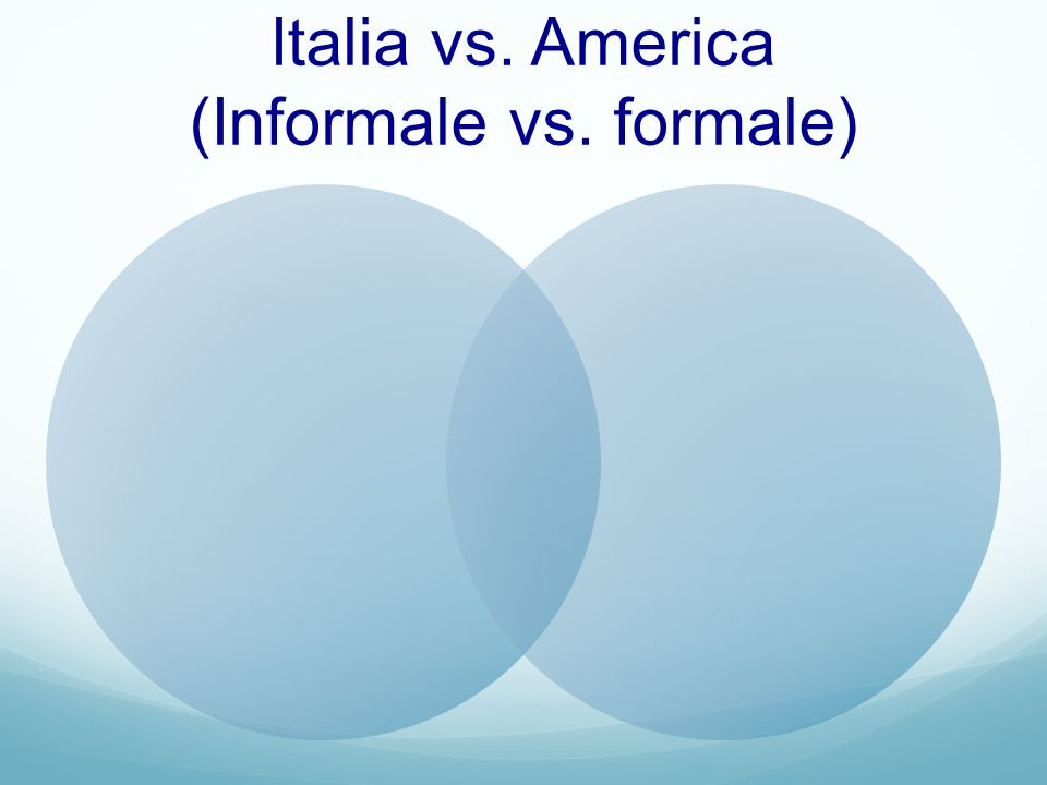 Italia vs. America (Informale vs. formale)