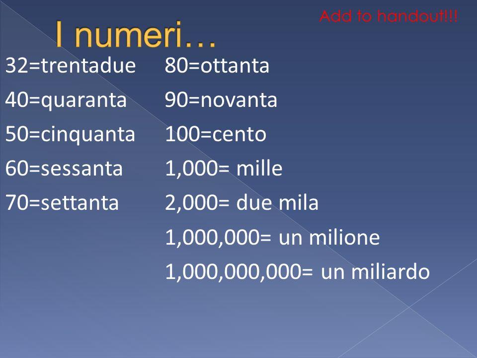 I numeri… 32=trentadue 40=quaranta 50=cinquanta 60=sessanta