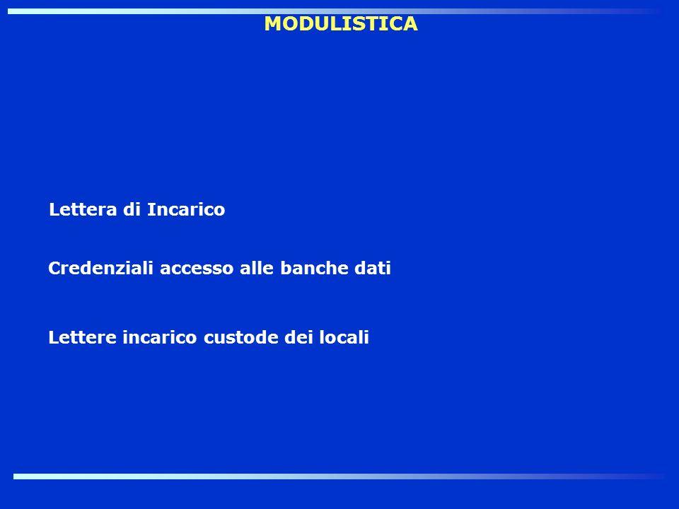 MODULISTICA Lettera di Incarico Credenziali accesso alle banche dati