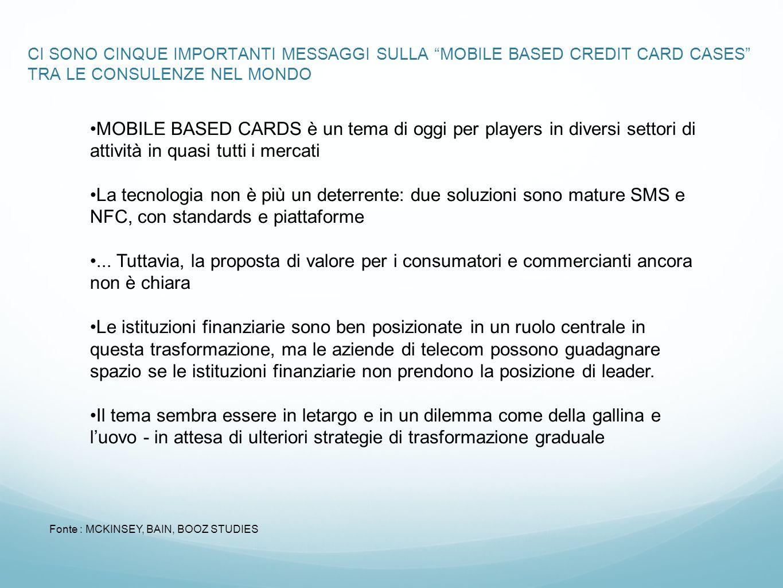 CI SONO CINQUE IMPORTANTI MESSAGGI SULLA MOBILE BASED CREDIT CARD CASES TRA LE CONSULENZE NEL MONDO