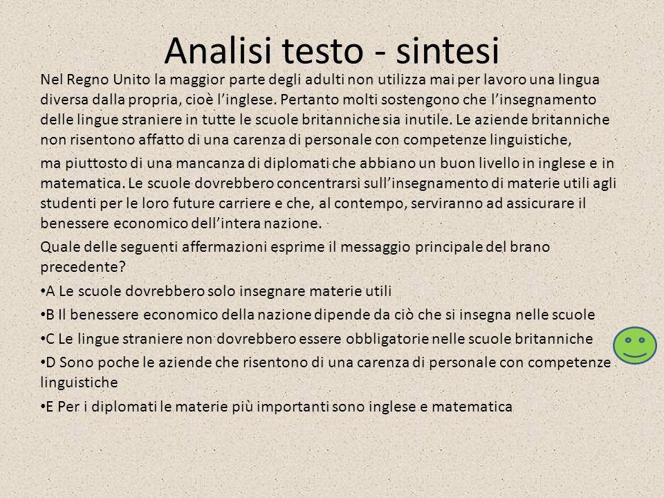 Analisi testo - sintesi