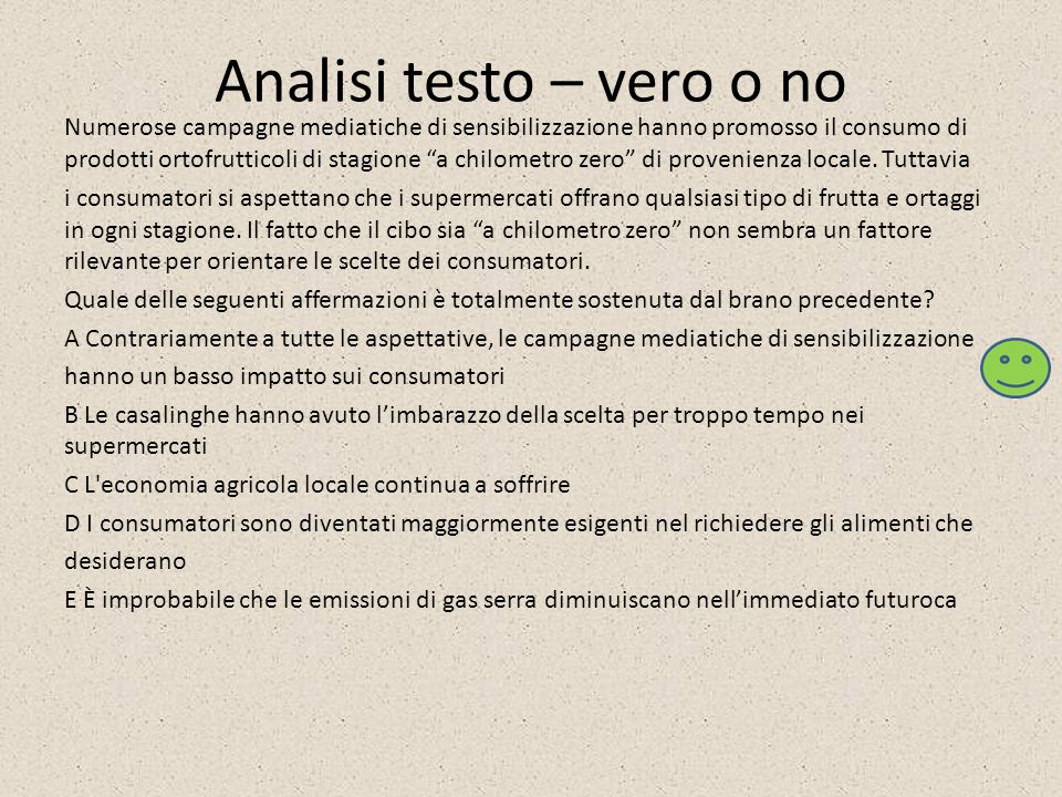 Analisi testo – vero o no