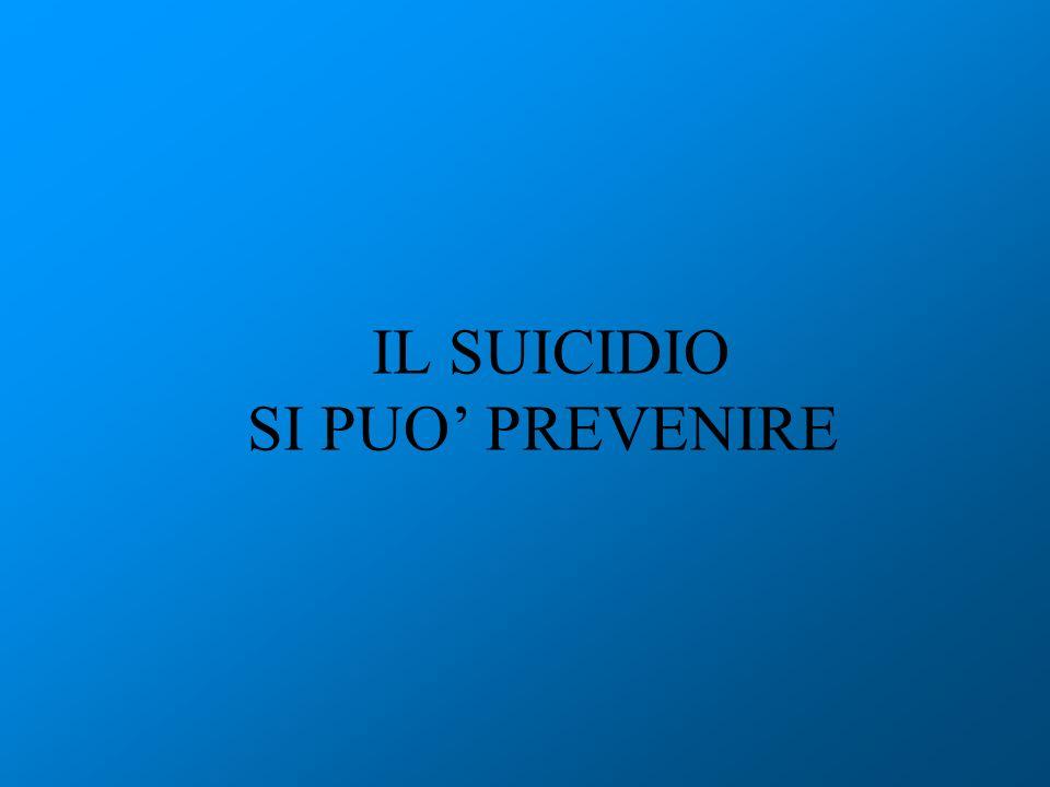 IL SUICIDIO SI PUO' PREVENIRE