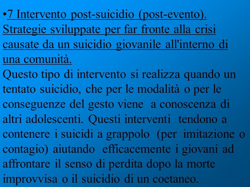 7 Intervento post-suicidio (post-evento)