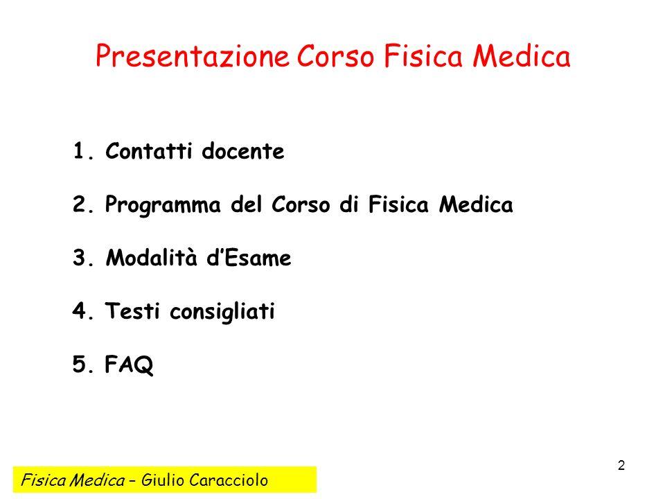 Presentazione Corso Fisica Medica