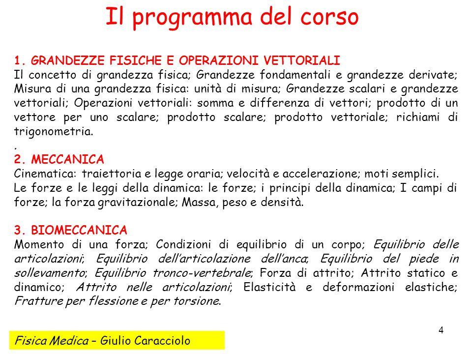 Il programma del corso 1. GRANDEZZE FISICHE E OPERAZIONI VETTORIALI