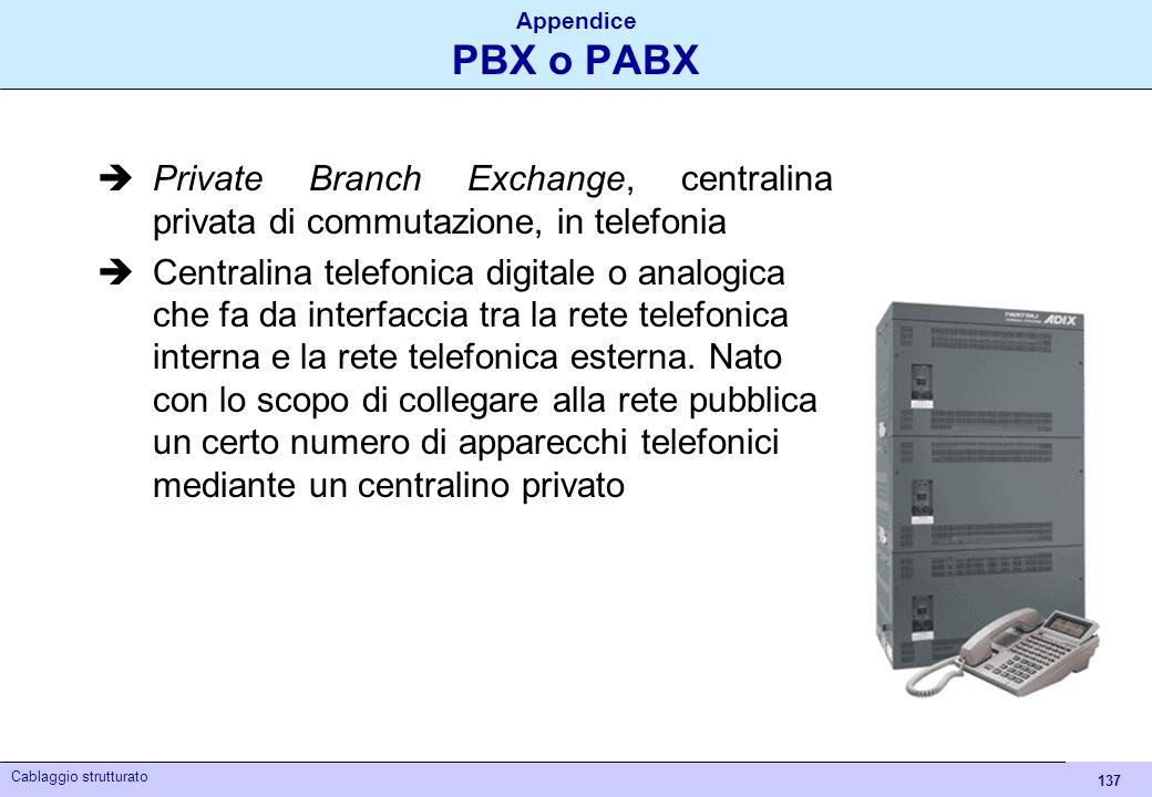 Appendice PBX o PABX Private Branch Exchange, centralina privata di commutazione, in telefonia.