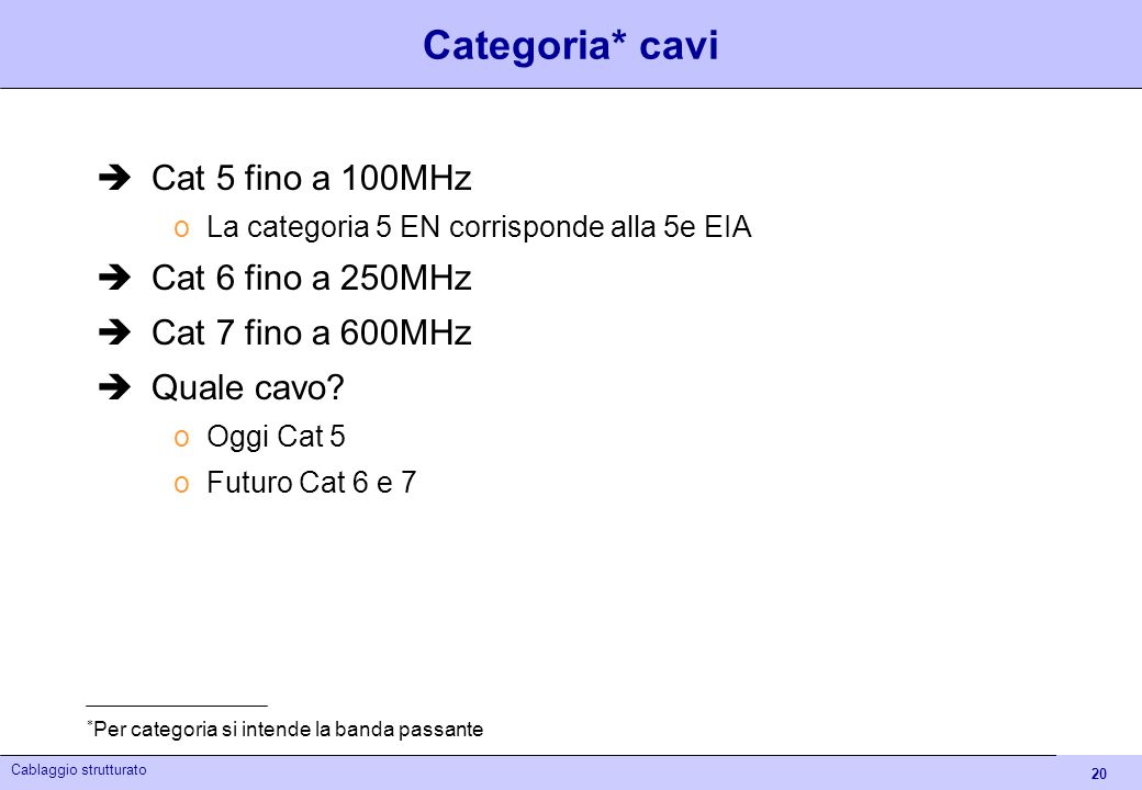Categoria* cavi Cat 5 fino a 100MHz Cat 6 fino a 250MHz