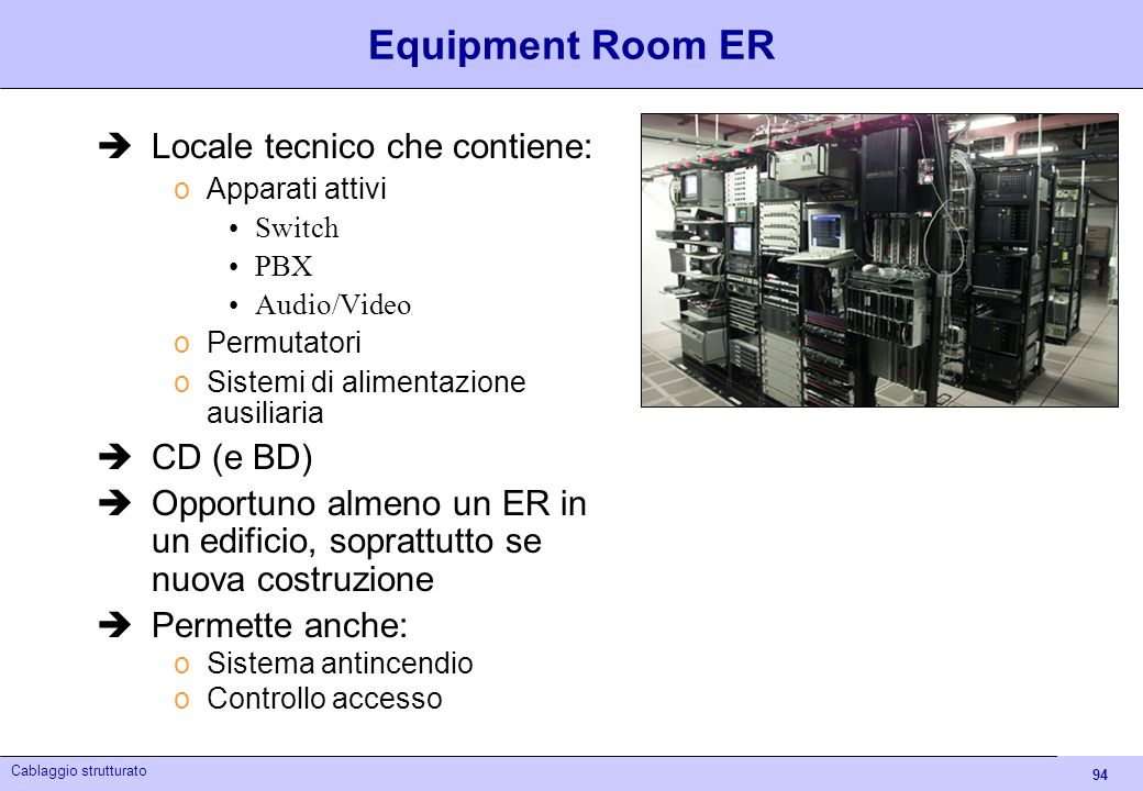 Equipment Room ER Locale tecnico che contiene: CD (e BD)