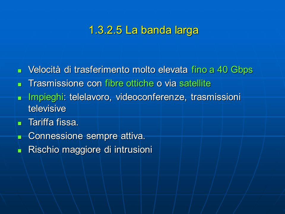 1.3.2.5 La banda larga Velocità di trasferimento molto elevata fino a 40 Gbps. Trasmissione con fibre ottiche o via satellite.