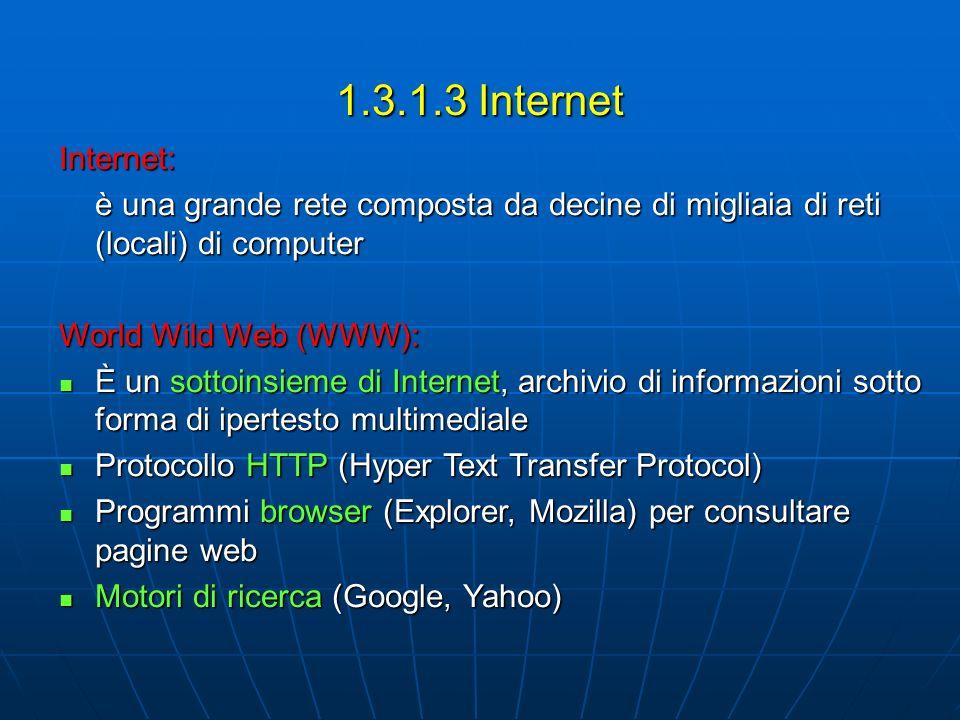 1.3.1.3 Internet Internet: è una grande rete composta da decine di migliaia di reti (locali) di computer.