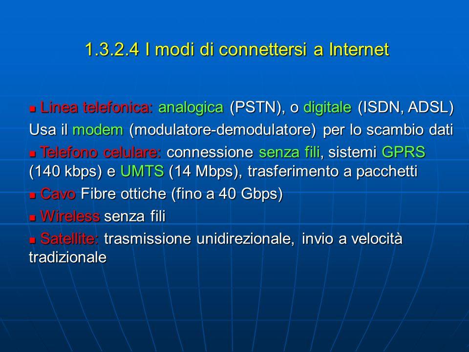 1.3.2.4 I modi di connettersi a Internet