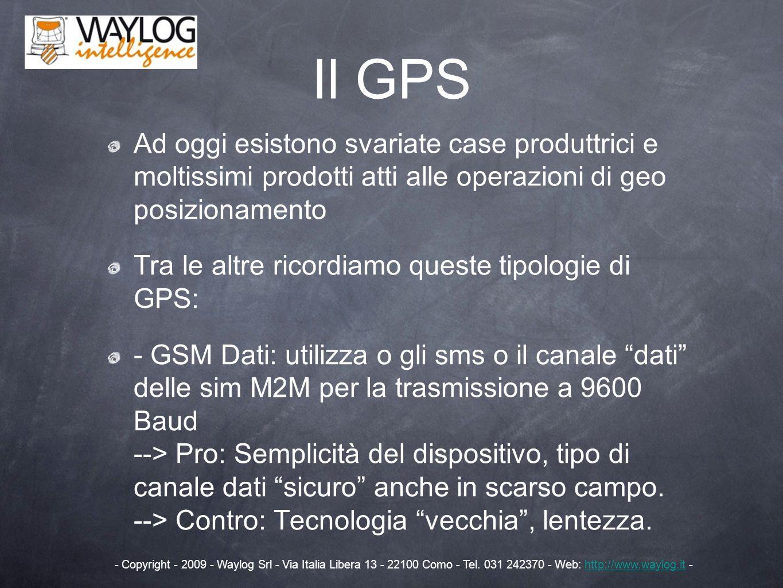Il GPS Ad oggi esistono svariate case produttrici e moltissimi prodotti atti alle operazioni di geo posizionamento.