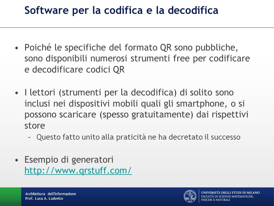 Software per la codifica e la decodifica