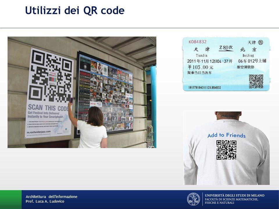 Utilizzi dei QR code Architettura dell informazione Prof. Luca A. Ludovico