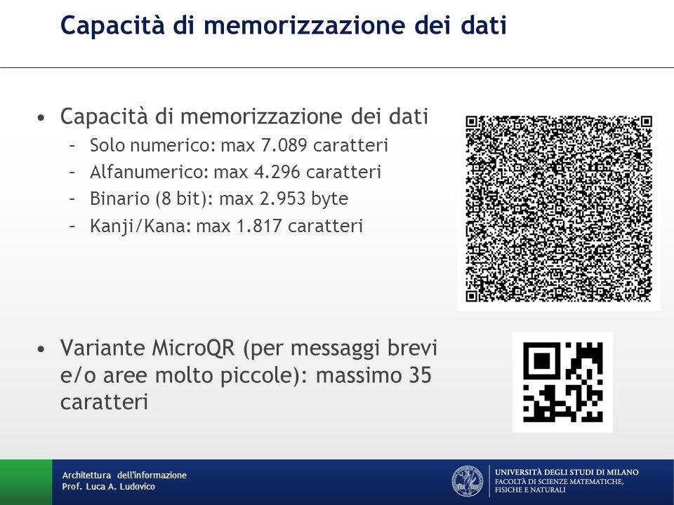 Capacità di memorizzazione dei dati