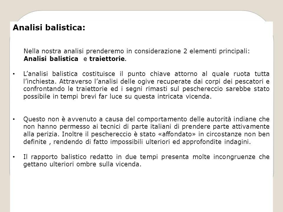 Analisi balistica: Nella nostra analisi prenderemo in considerazione 2 elementi principali: Analisi balistica e traiettorie.