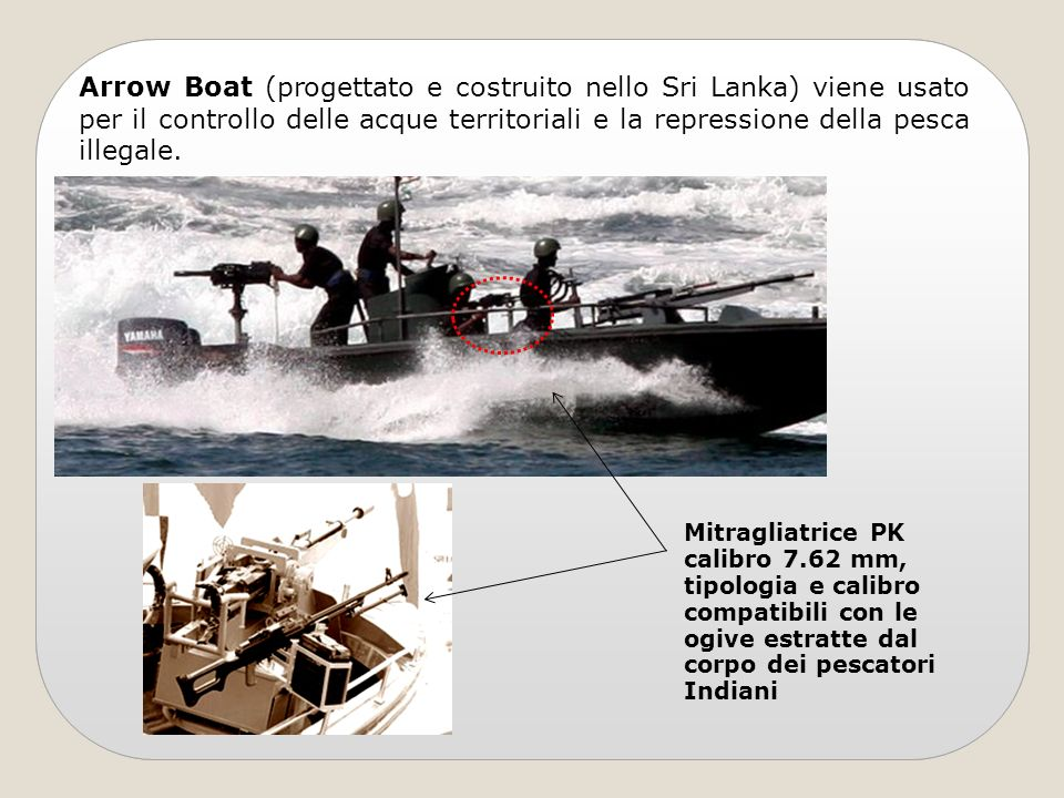 Arrow Boat (progettato e costruito nello Sri Lanka) viene usato per il controllo delle acque territoriali e la repressione della pesca illegale.