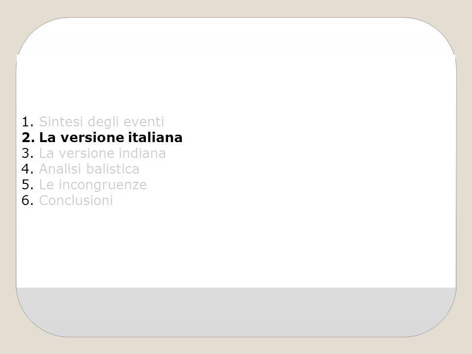 Sintesi degli eventi La versione italiana. La versione indiana. Analisi balistica. Le incongruenze.