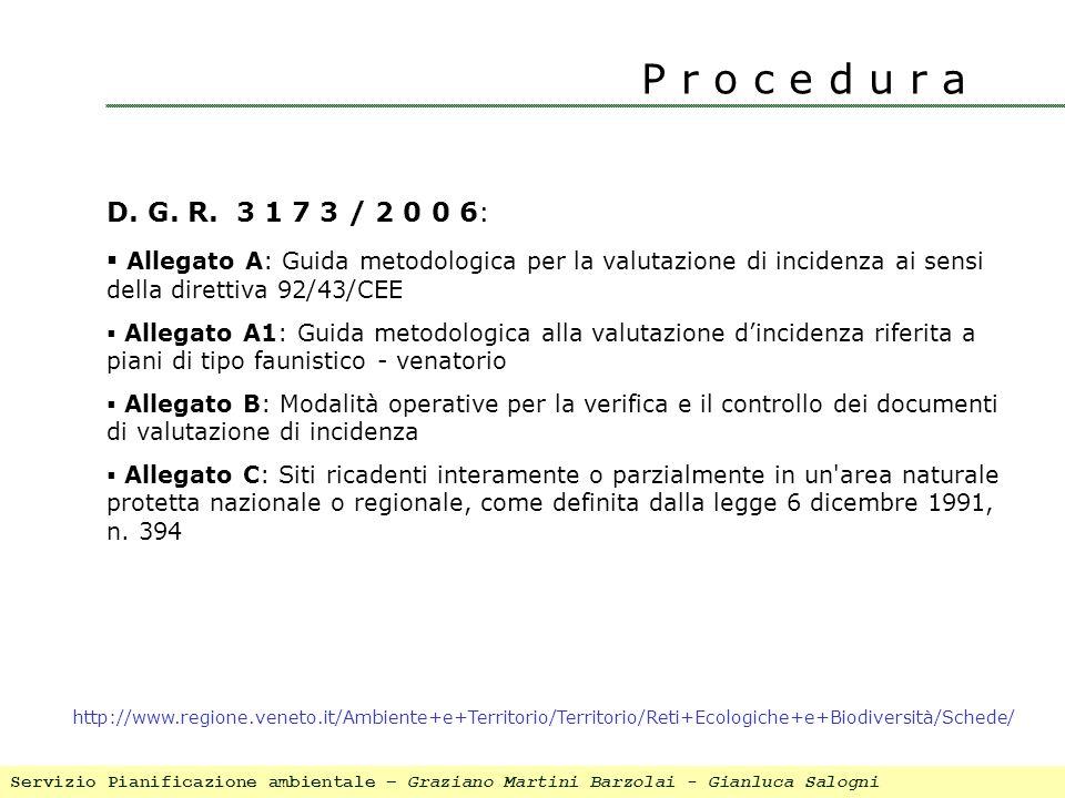 P r o c e d u r a D. G. R. 3 1 7 3 / 2 0 0 6: Allegato A: Guida metodologica per la valutazione di incidenza ai sensi della direttiva 92/43/CEE.