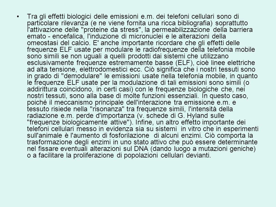 Tra gli effetti biologici delle emissioni e. m