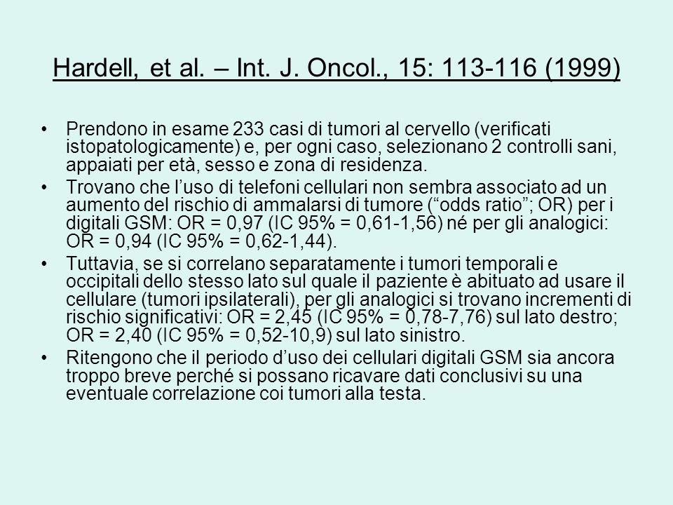 Hardell, et al. – Int. J. Oncol., 15: 113-116 (1999)