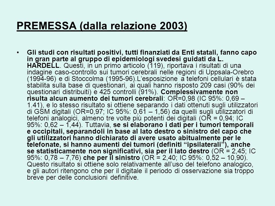 PREMESSA (dalla relazione 2003)