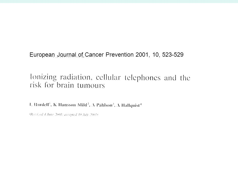 European Journal of Cancer Prevention 2001, 10, 523-529