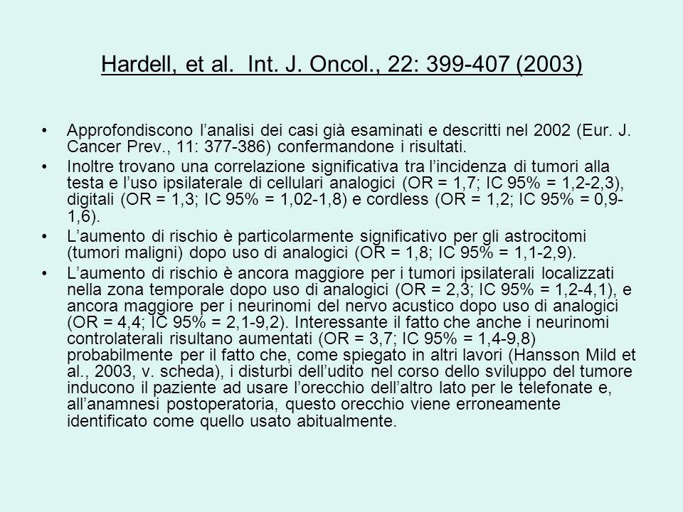 Hardell, et al. Int. J. Oncol., 22: 399-407 (2003)