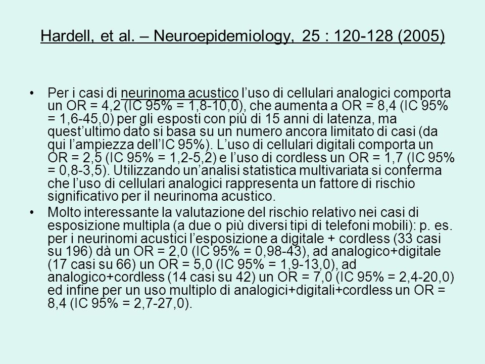 Hardell, et al. – Neuroepidemiology, 25 : 120-128 (2005)