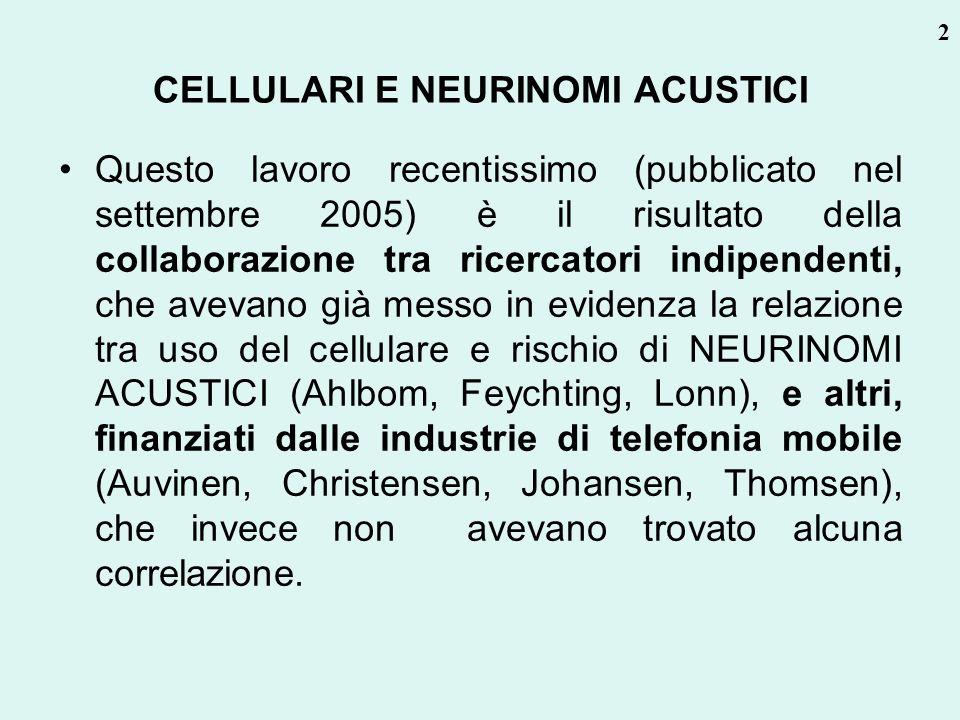 CELLULARI E NEURINOMI ACUSTICI