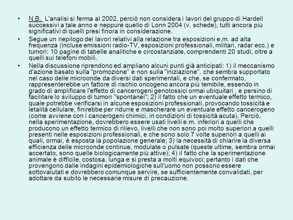 N.B. L analisi si ferma al 2002, perciò non considera i lavori del gruppo di Hardell successivi a tale anno e neppure quello di Lonn 2004 (v. schede), tutti ancora più significativi di quelli presi finora in considerazione.