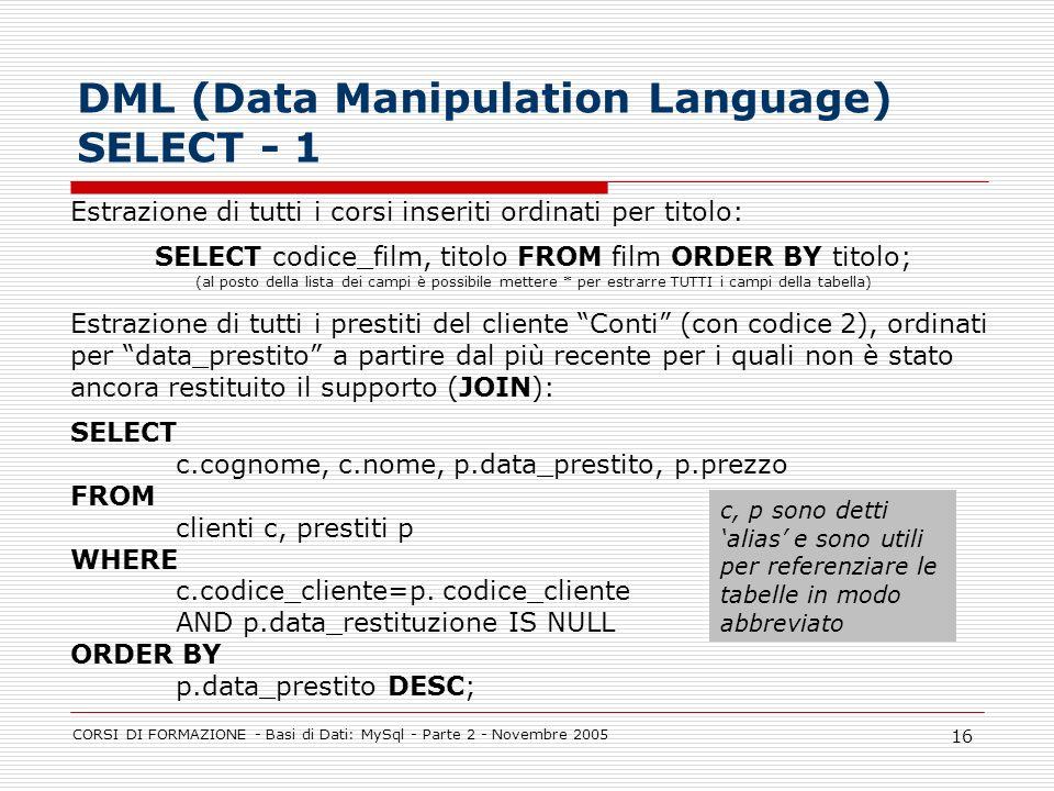 DML (Data Manipulation Language) SELECT - 1