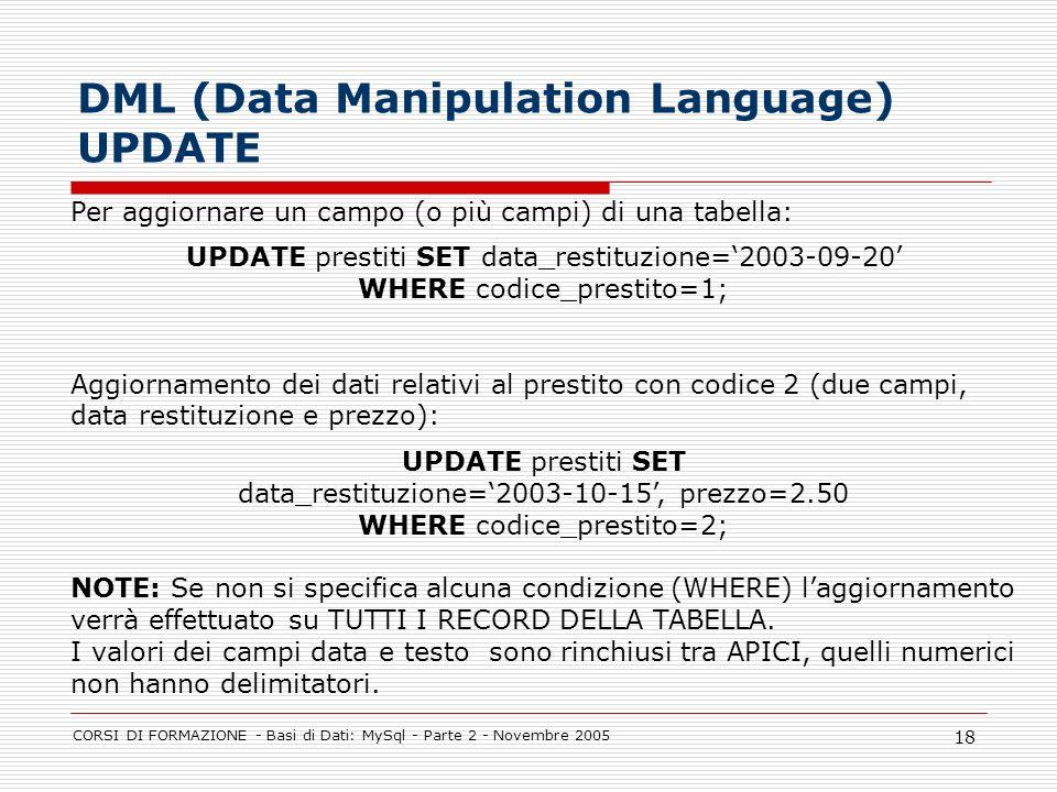 DML (Data Manipulation Language) UPDATE