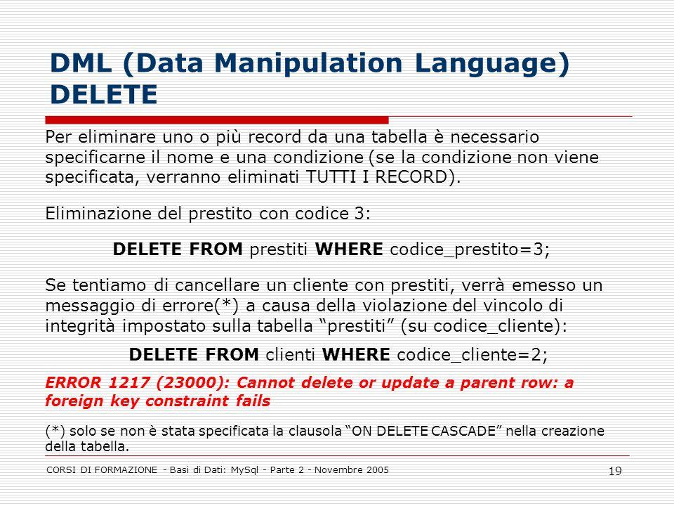 DML (Data Manipulation Language) DELETE